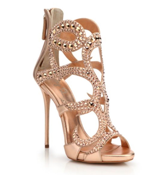 Luxury Sexy Women Sandals High Heels For Female 2019 Spring Summer Thin High Heels Hollow Crystal Simple Elegant Women Pumps Party Shoes