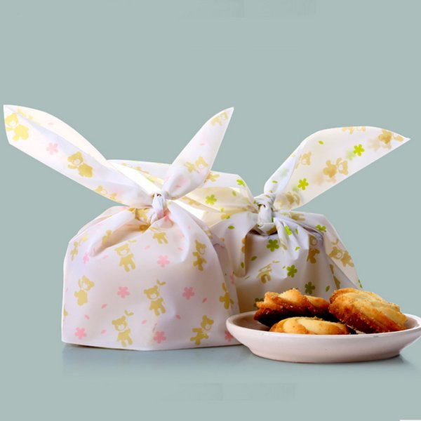20pcs Long Rabbit Ears Biscuit Candy Bags Pink and Green Flower Bear Small Cookie Baking Treat Snack Kids Party Favor Gift Bag