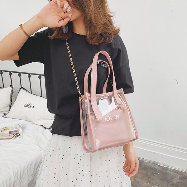 New Lady Ins Super Fire Bag Transparent All Match Shoulder Bag High Quality PVC Natural Gas Texture Crossbody Ladies Handbag