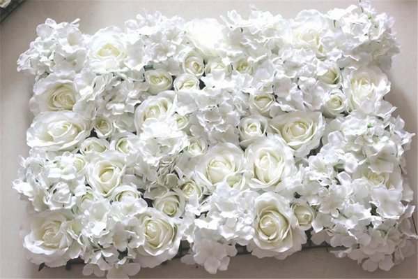 Al por mayor-libre del envío 10pcs / lot MARFIL Hortensia artificial rosa flor de la pared telón de fondo de la boda césped / pilar flor camino decoración de plomo