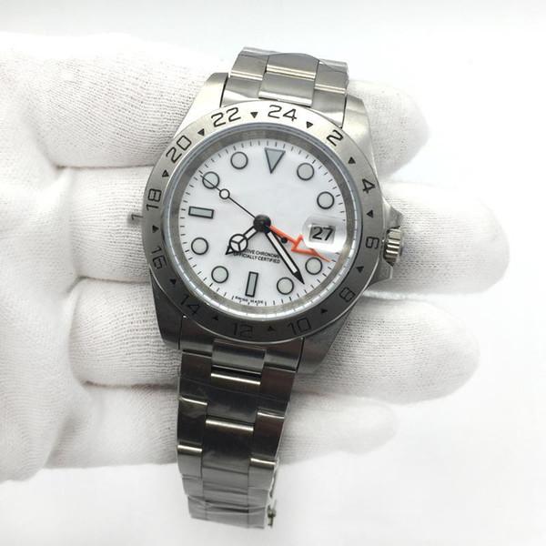 2018 ~ 2019 Hot Sale Mens EXP Mostrador Branco Movimento Mecânico Automático de Aço Inoxidável Dos Homens Relógios Masculino relógio de Pulso.