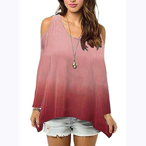 19SS Fashion Womens T shirts Summer Gradient Color Long Sleeved Girls Loose Tops Tees Women Shirts