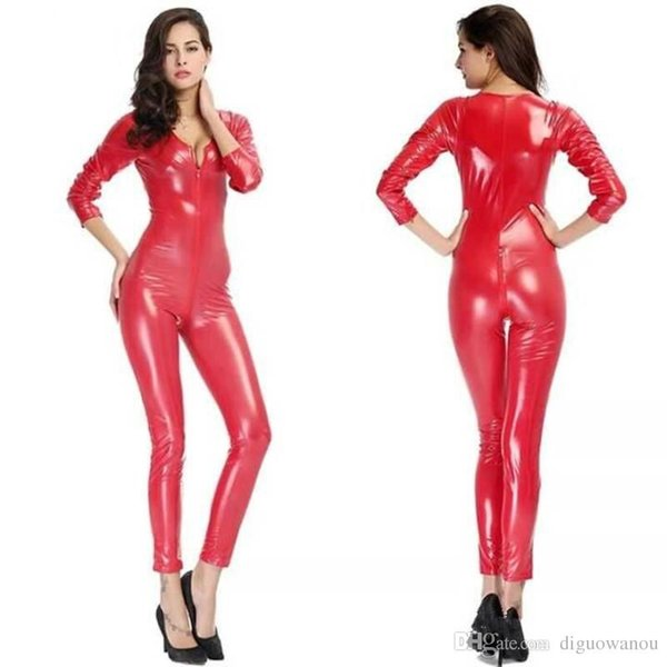 Jumpsuit Clubwear Stagewear for Halloween Purim Party Pole Dancing Costumes Sexy Deep V Neck Women Red Zip Patent Leather Bodysuit