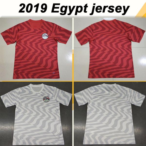 2019 Egipto M. SALAH KAHRABA Camisetas de fútbol Equipo nacional de alta calidad Local Rojo Visitante Blanco M.SALAH A. HEGAZI Camisetas de fútbol para hombre Uniformes