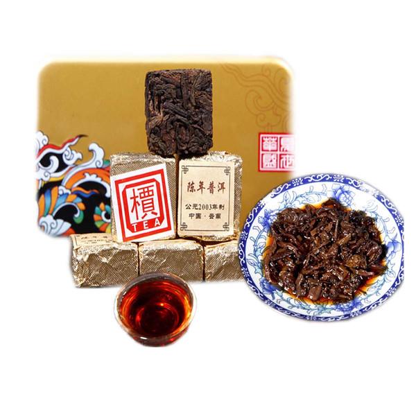 250g Yunnan Vieilli Ripe Puer thé Brique organique Pu'er naturel cuit Puer Noir Puerh Thé vert alimentaire Briquette Fer Box