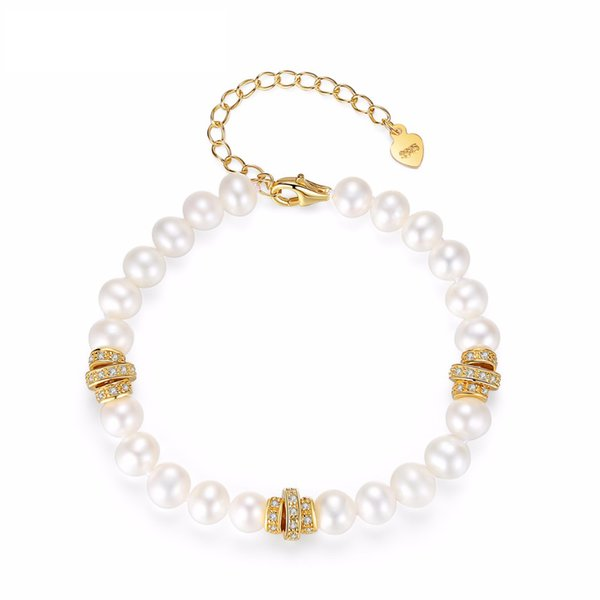 Fenchen romantiche bianche perle donne braccialetti dei braccialetti 925 d'argento a catena parti di perle femminile Braccialetti di collegamento regalo AB012