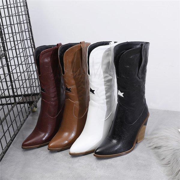 Venda-Nova Big Size 34-44 marca de alta saltos robustos quentes do dedo do pé Pointed costura sapatos de mulher Casual Partido Ol Sexy Meia-perna Botas Mulheres