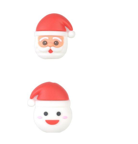 Alta Qualidade Natal Mordida Mordida Cabo de telefone dos desenhos animados cabo linha de dados Protetor Titular Do Telefone Da Boca Do Natal Boneca de Neve Para O Telefone