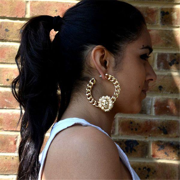 2018 Bijoux de mode Lion Boucles d'oreilles pour femmes exagérées en métal à la mode ronde exagérée Animal boucles d'oreilles or kolczyki Z942