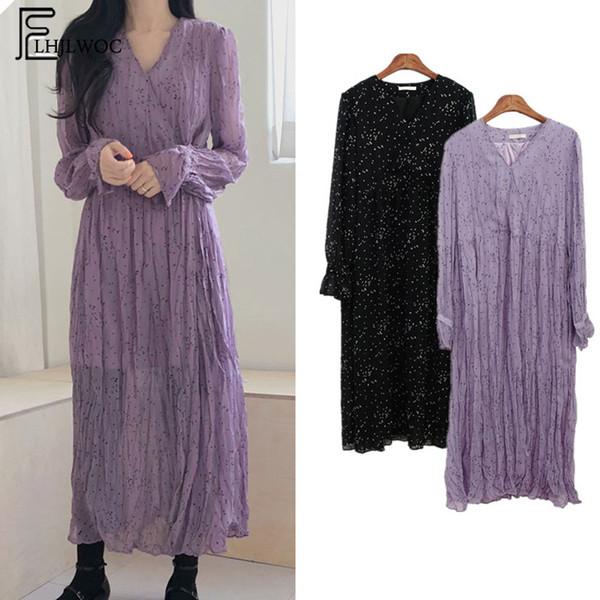 2019 Primavera Lindo Largo Largo Vestidos Mujeres Estilo Coreano Manga Larga Temperamento Dama Cuello Púrpura Negro Vintage Camisa Vestido 6512 T5190606