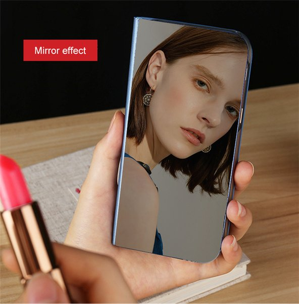 Custodia Flip Smart con Vista Specchio per Samsung Galaxy A6 A7 A8 A8 2018 J4 J6 S8 S9 S10 Plus J8 A600 J2 Core A5 J3 J5 J7 Neo 2017 S7 Edge