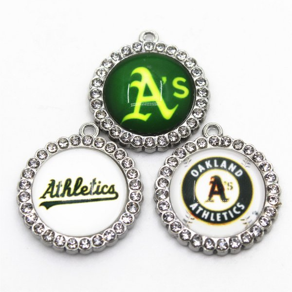 US Baseball Athletics Team 10pcs/lot Sports Dangle Charms Baseball Sports Charms DIY Bracelet Necklace Pendant Jewelry Hanging Charms