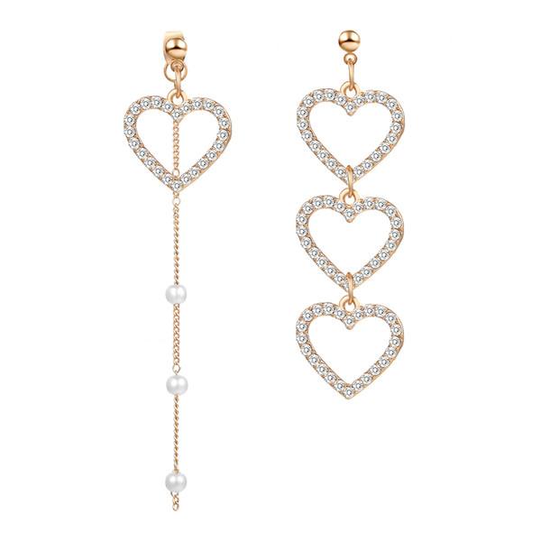 2019 New Korean Love Heart Earrings Charm Pearl Tassel Crystal Earrings For Women Fashion Asymmetric Drop Earring Luxury Jewelry