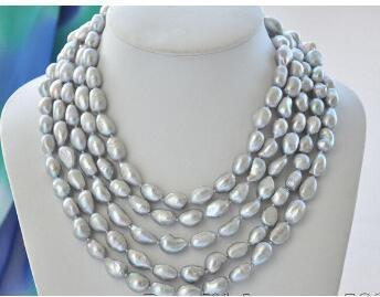 Free Shipping @ Az6983 12mm gray baroque potato freshwater pearl necklace 100inch a