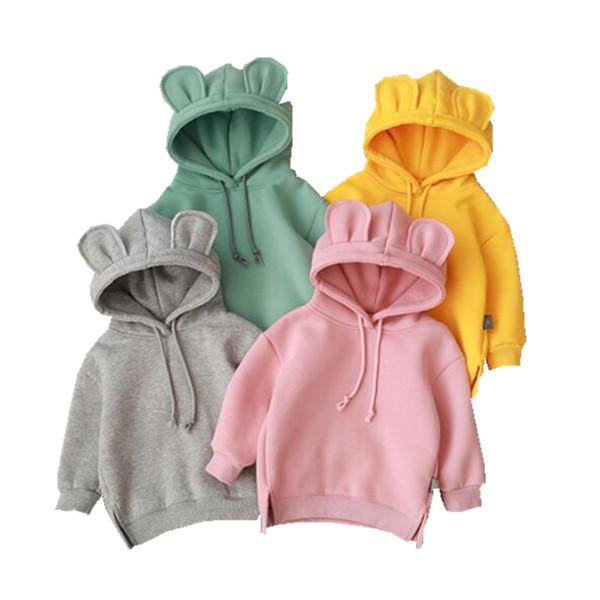 2019 مولود جديد الفتيان الفتيات الخريف سترة لطيف hoded الملابس النسخة الكورية الدافئة زائد المخملية sweatershirt الطفل خارج ارتداء