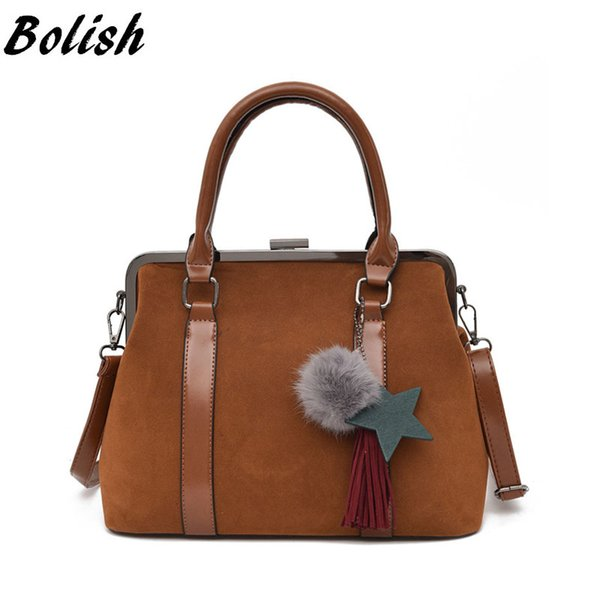 Bolish Women Scrub Leather Star Crossbody Bag Female Causal Bolsa Feminina Vintage Tassel Shoulder Bag Fashion Fur Ball Handbag