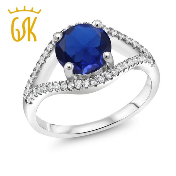 GemStoneKing 3.00 Ct Круглый синий Имитация сапфирового кольца из стерлингового серебра 925 пробы Прекрасно и изящно нежно