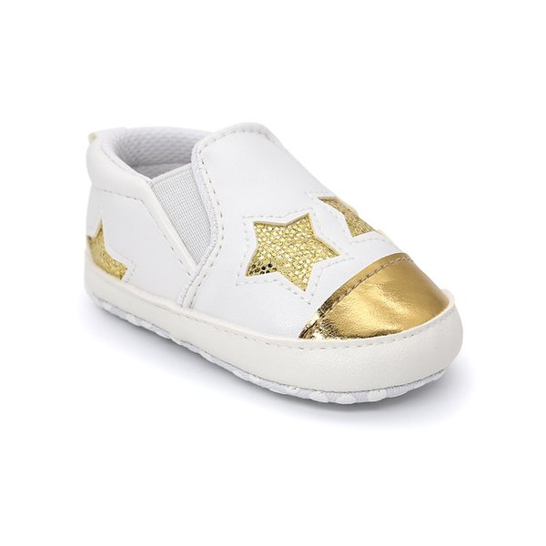 Baby Prewalker, Woopower Jungen Mädchen fünfzackiger Stern sticken weiches Leder Antislip Kleinkind Schuhe (0-6M, Silber)