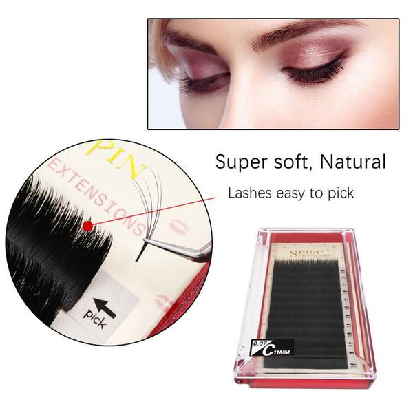 SHIDISHANGPIN B C D Curl 0.07 mm Mink Natural Long False Eyelashes Professional Makeup Lashes Individual Lashes Grafting Eyelashes