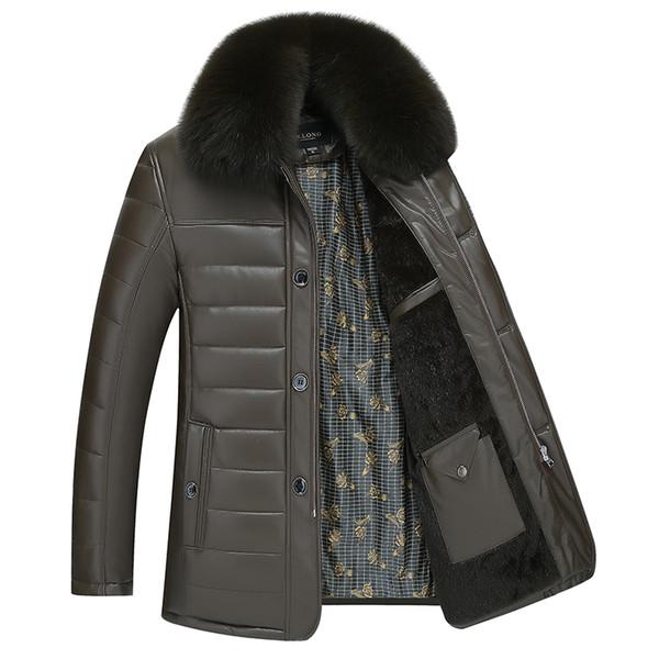 Veste En Cuir Hommes Manteaux Marque Haute Qualité PU Survêtement D'hiver Col De Fourrure Masculino Jaqueta Hommes Vers Le Bas Veste Mâle NOIR BRUN