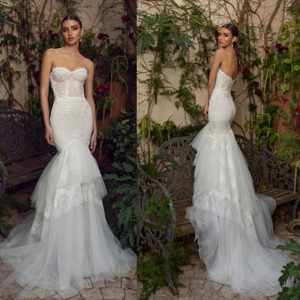 2019 Berta Mermaid Wedding Dresses Sweetheart Lace Appliqued Sweep Train Fishtail Wedding Dress Bridal Gowns Custom Made Plus Size Dress