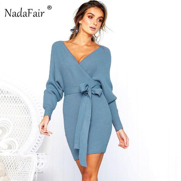 Nadafair v neck knitted sweater winter dress women 2018 autumn long sleeve sash mini bodycon sexy dresses elegant robe pull Y190117