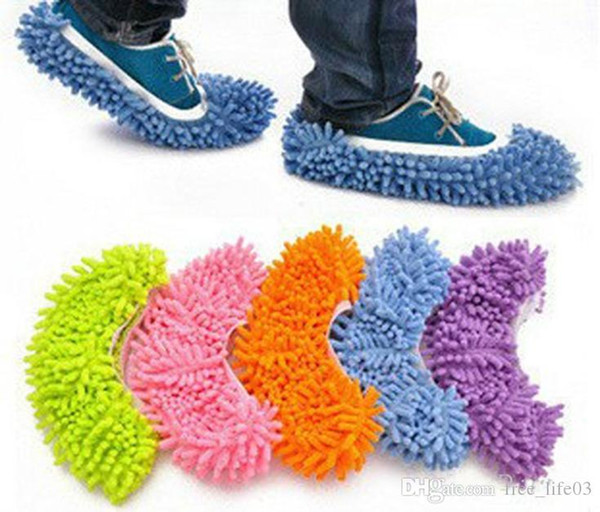 2019 Free Shipping 1Pcs wholesale Multifunctional chenille shoes covers clean slippers lazy drag shoe mop caps home cleaning tools
