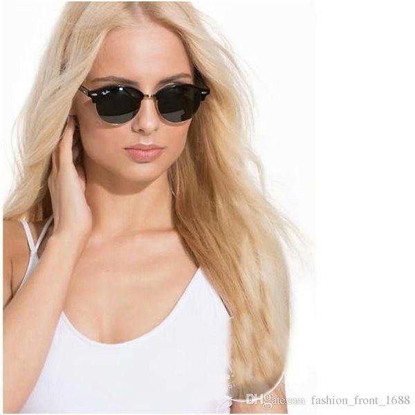 2019 Ray Brand Hot Sale Half Frame Sunglasses Women Men Club Master Bans Sun Glasses Outdoors Bain Driving Glasses UV400 Eyewear