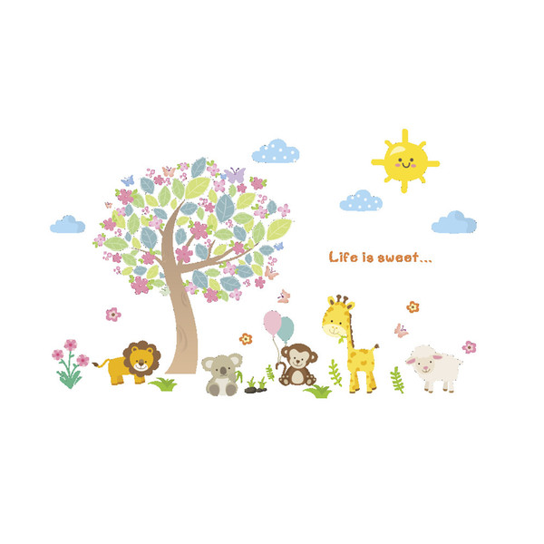 Wall Stickers Home Wall Decor Cartoon Animals Sticker for Kids Room Bedroom Decoration Forest Poster Mural Wallpaper Wall Decals