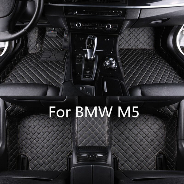 Customized Man-Made Leather Car Floor Mats For BMW M5 2011-2017 Fit All Weather Non-slip Waterproof