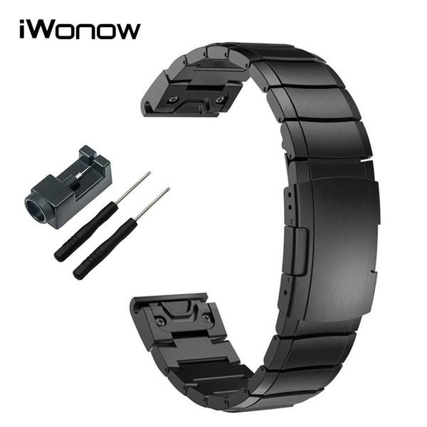 Paslanmaz Çelik Watchband 20/22 / 26mm Kolay Fit Kayış + Aracı Garmin Fenix 3 / İK / 5X / 5S / 5 / Öncü 935 / Epix İzle Band Bileklik için