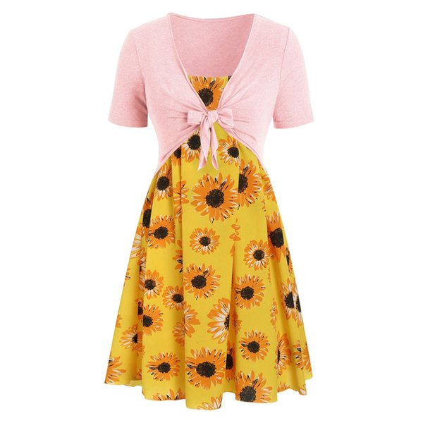 Fashion Women Dresses Ladies 2019 Summer Short Sleeve Bandage Top Sunflower Print Dress Suits Holiday Beach Dress Vestidos
