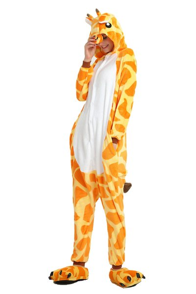 Cartoon Giraffe Pajamas for Adults Long Sleeves Hooded Unisex Home Wear Mascot Costumes Sleep Wear Night Party Wear Warm