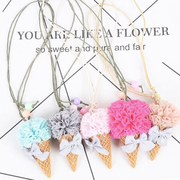Корея ручной работы милый кружева цветок мороженое дети девочка дети ожерелье детские цепи воротники аксессуары для одежды