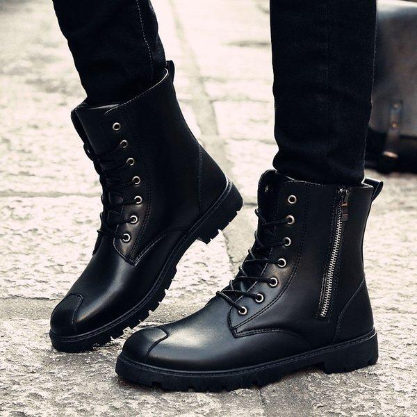 LettBao 2018 Trend Зимние ботинки для мужчин Военные Сапоги Лодыжки Мотоцикл Зимняя обувь Мужчины Черно-коричневые кожаные ботинки # 8931