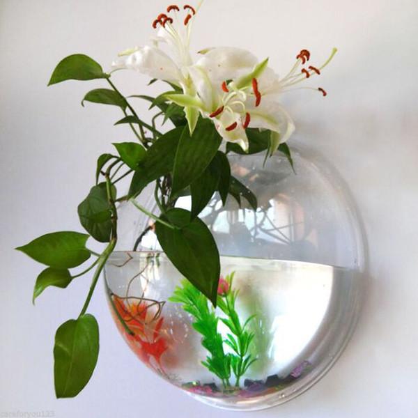 2 boyutları Pot Bitki Duvar Akvaryum Şeffaf Akrilik Fish Bowl Fish Tank Çiçek Bitki Vazo Ev Dekorasyon Asma Monteli