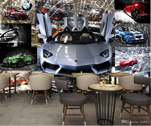 3d wallpaper custom photo 3D broken glass fresco of car sports car 3d wall murals wallpaper for walls 3 d living room