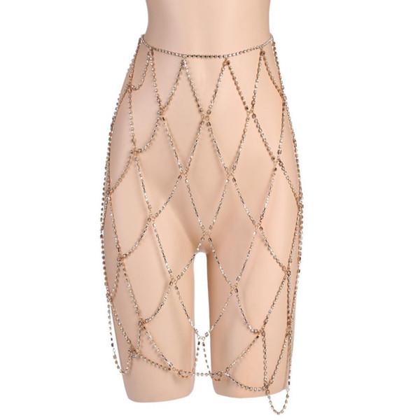 Women Nightclub Party Body Chain Jewelry Bikini Waist Gold Belly Beach Harness Slave Necklace 0426#30