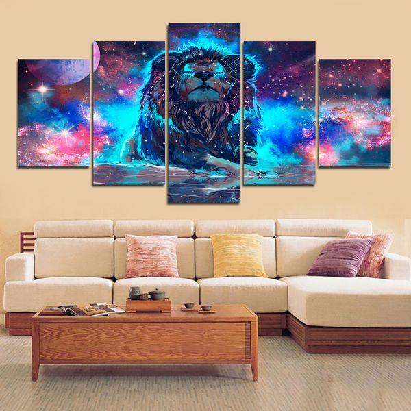 Wandkunst Dekor Gemälde Leinwand Gemälde 5 Stücke Farbe Abstrakte Nebel Lion Konstellation Poster Bilder Wohnzimmer Kein Rahmen