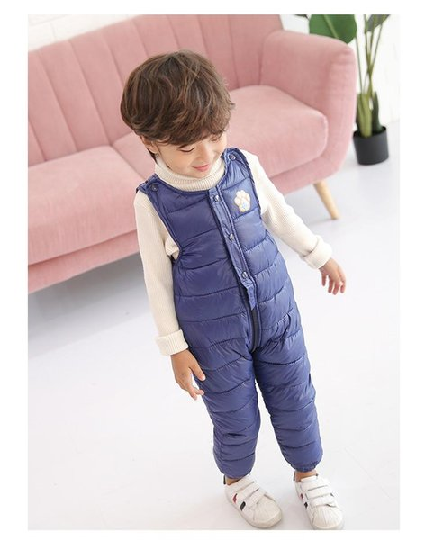 New 2018 children's down trousers boys cute wear open file jumpsuit girls thick warm baby kids Overalls solid cotton pants online free
