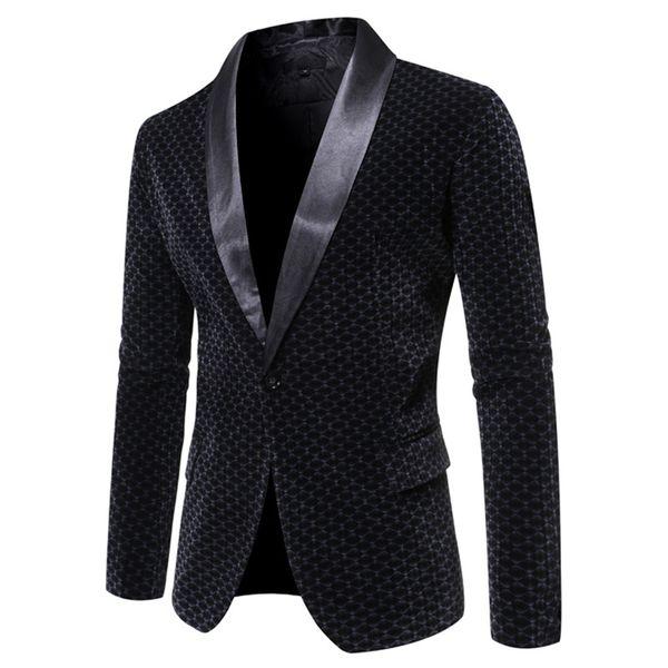 Mens One Button Schalkragen Kleid Blazer 2019 Fashion kariertes Geschäft-beiläufigen Klage-Jacken-Mann-Partei-Hochzeit Bräutigam Smoking-Blazer