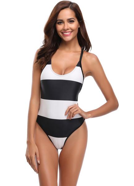 Womens Scoop Neck Bikini One Piece Swimsuit String Bikini Top Backless Bandage Swimming Bathing Suit Black White Striped Swimwear Beachwear