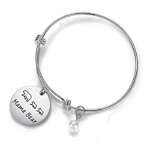 MAMA BEAR Bracelet Bangle Stainless Steel Pearl Hand Stamped Charm Engraved Pendant Expandable Bracelet Metal Stamped Jewelry Cheap