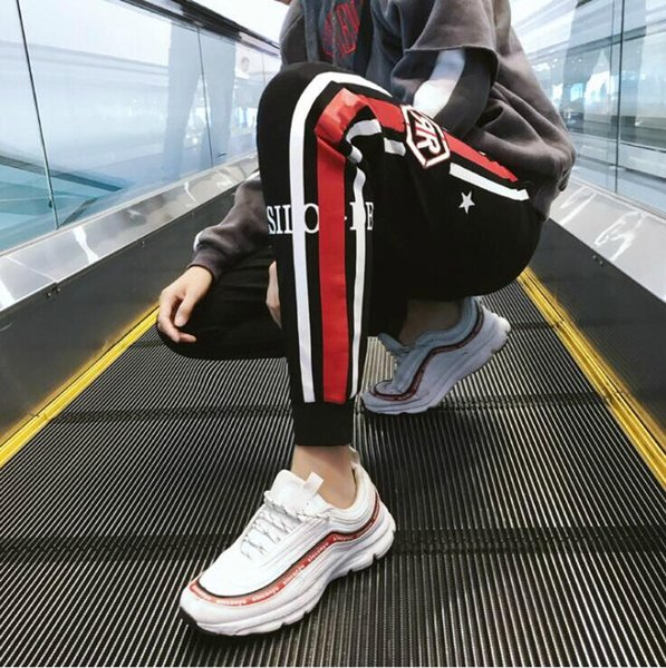Yeni Tasarımcı Pantolon Erkek Pantolon Için Bahar Sonbahar Ile Yüksek Sokak Spor Pantolon Mektup Rahat Moda Erkek Kapriler Pantolon Boyutu M-4XL