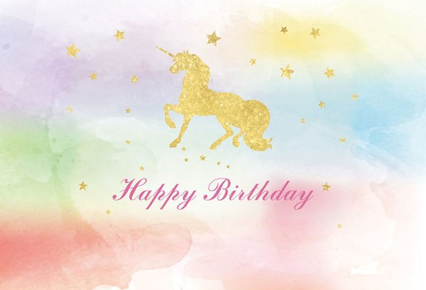 7x5FT Clouds Sky Happy Birthday Gold Unicorn Stars Custom Photo Background Studio Backdrop Vinyl 220cm x 150cm