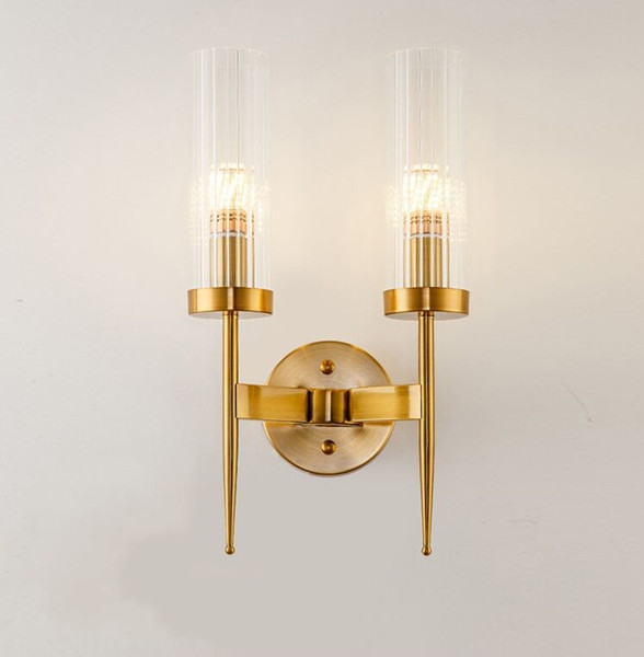 2019 Creative Postmodern Gold Wall Lamp Led Mirror Wall Light Glass Lampshade Sconce For Bedroom Kitchen Stair Home Fixtures Industrial Decor From