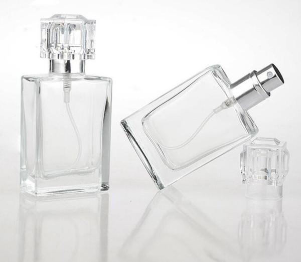 30мл Стеклянные бутылки Духи Спрей Портативный Clear Spray Bottls с алюминиевым Форсунка Пустой косметический случай SN811