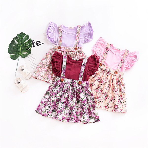 INS Baby girl clothing Suspender skirt Overalls Back bow Cute Mini skirts Vintage Florals Print Buttons 100%cotton Spring summer B11