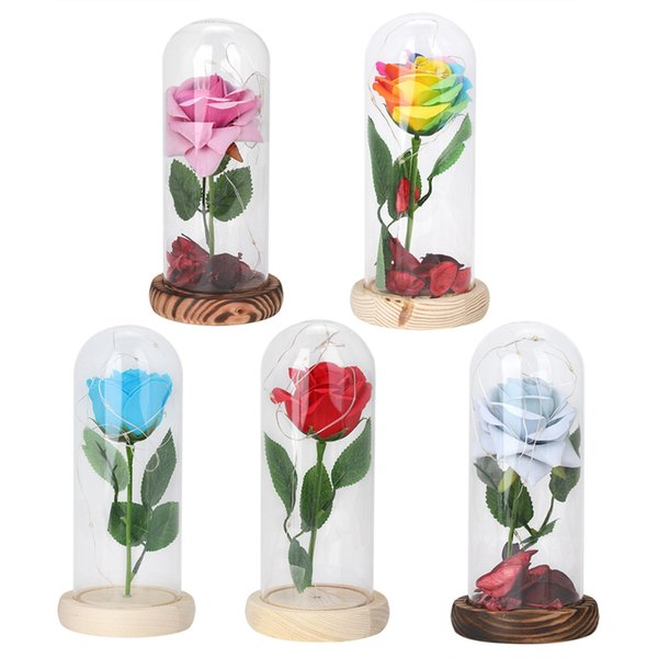 Kapak Kubbe Romantic Valentine Hediye Red Flower Dize Işık Masası Lambası Hediye Dekorasyon LED Güzellik Gül Masa Lambası Dize Işık