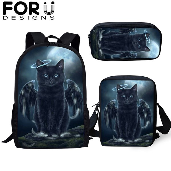 FORUDESIGNS Gothic Black Cat School Bags 3Pcs/set For Girl Boy Casual 3D Women Backpack Orthopedic Rucksack Kids Travel Book Bag